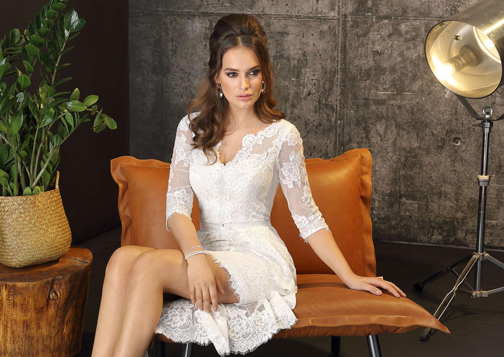 Brautkleid Boho kurz - Brautkleid kurz weiß